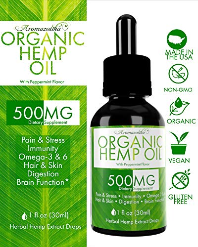Hemp Oil for Pain Relief, Anti Anxiety, Sleep Supplements, Herbal Drops, Rich in Omega Fatty Acids, Anti Inflammatory, Good for Skin & Hair, Organic, Non-GMO, Vegan, Therapeutic Grade 1 Fl Oz (30 ml)