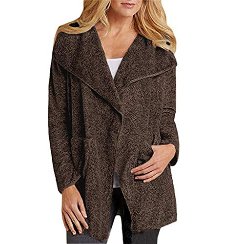 Marron Mode Chaud Hiver Chemises Bouton Ouvert Manches Seul Sweat Blouse Pull shirt Pull Osyard Casual Longues over Poches Manteau AwqCEtCY