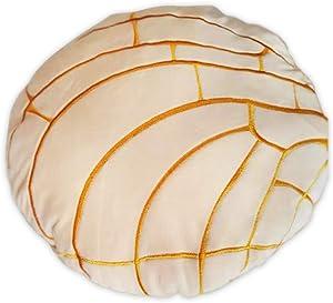 Concha Bread Pillow - Mexican Pan Dulce Pillow - Cute Home Decor - Soft Micro Mink with Down Cotton Filling - Decorative Throw Pillow, Back Cushion, Fun Minimalist Decor [Vanilla, 15.7'']