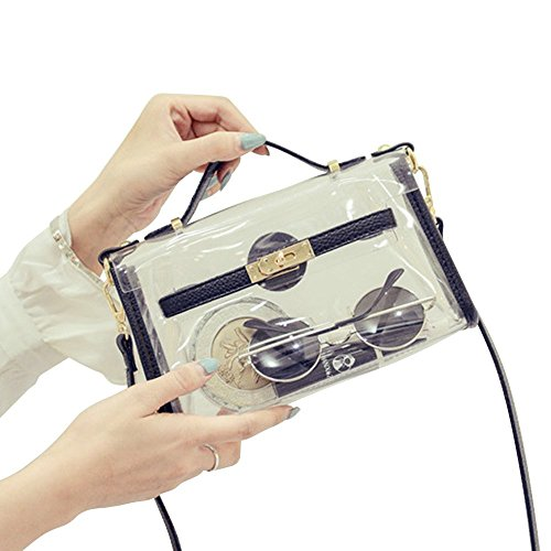 Yocatech Transparent Crossbody Bags Messenger Bags For Women NFL Stadium Approved (Black)