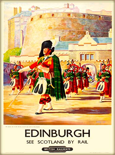 (A SLICE IN TIME Edinburgh Scotland Rail British Railways Marching Guards Great Britain Vintage Travel Home Collectible Wall Decor Advertisement Art Poster Print. 10 x 13.5 inches)
