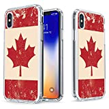 iphone 6 canada - iPhone X Case - True Color Clear-Shield Vintage Canadian Flag Printed on Clear Back - Soft and Hard Thin Shock Absorbing Dustproof Full Protection Bumper Cover