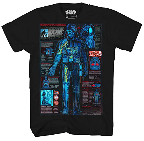 Star Wars Mens T-Shirt - Darth Vader Colorful Schematics Blue Print Image (Small) from Star Wars