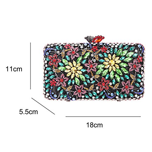Evening Women for Dressing Flower Multicolor Bonjanvye Clutch Rhinestone Match Purse Crystal 8xqnXxY10w