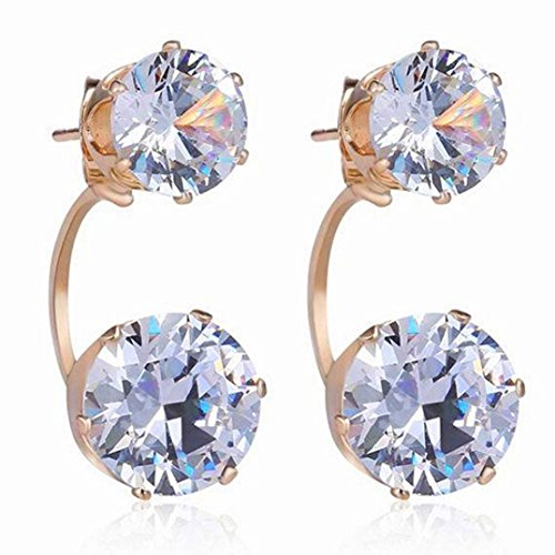 Polytree Women Fashion Drop Ear Studs Jewelry Double Rhinestone Ear Jacket Earrings Gift