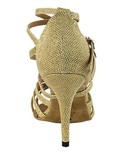 Veldig Fine Ballroom Latin Tango Salsa Dans Sko For Kvinner 5008ledss 3,5-tommers Hæl, Sammenleggbar Børste Bunt Gull Glitter Satin