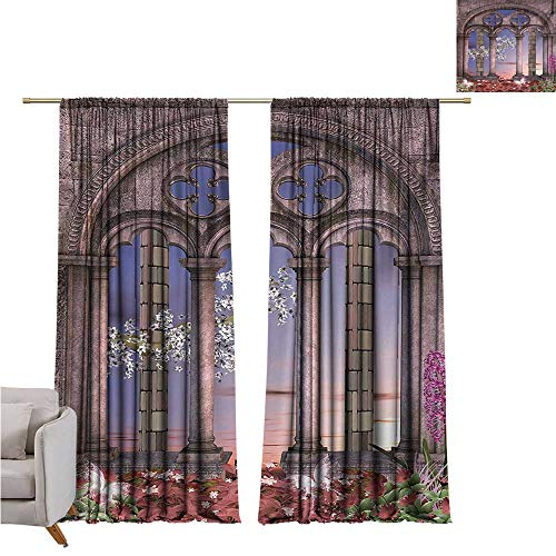 RuppertTextile Gothic Fashion Curtain Ancient Colonnade in Secret Garden with Flowers at Sunset Enchanted Forest Privacy Protection W72 x L96 Grey Blue Lilac Red