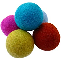 Earthtone Solutions Set of 5 Wool Felt Ball Toys for Cats and Kittens, Adorable Colorful Soft Quiet 4cm Felted Fabric Balls, Unique Handmade Natural, Perfect Cat Lover Gifts, Craft Supplies, Fun, by