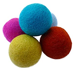 Earthtone Solutions Wool Felt Ball Toys for Cats and Kittens, Fun Adorable Colorful Soft Quiet Felted Fabric Balls, Unique Handmade Natural, Perfect for Cat Lover, Craft Supplies 48