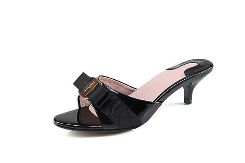 7f179e9dbe50b Ruiatoo Women s Fashion Leather Low Heel Evening Slip on Sandals Open Toe  Slippers Black 34