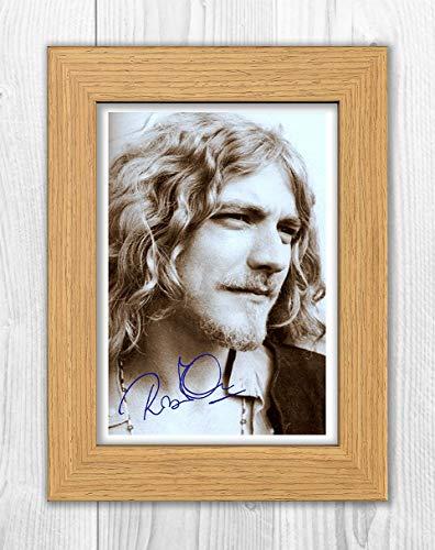 (Engravia Digital Robert Plant (5) Led Zeppelin Reproduction Autograph Poster Photo A4 Print(Oak Frame))