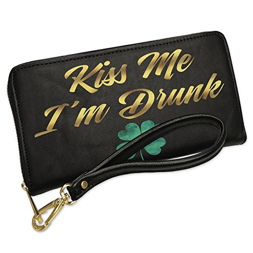 Wallet Clutch Kiss Me I'm Drunk St. Patrick's Day Watercolor Shamrock with Removable Wristlet Strap Neonblond by NEONBLOND