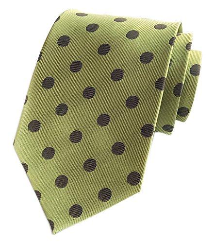 Secdtie Men Green Brown Dot Self Tie 100% Silk Jacquard Woven Party Necktie ()