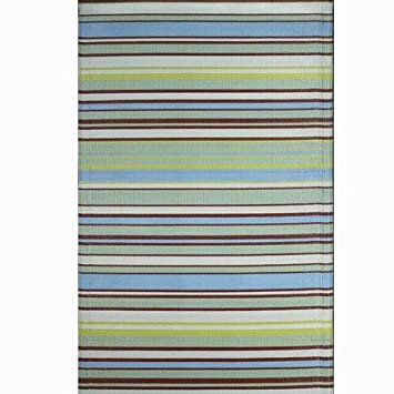 Mad Mats Recycled Plastic Outdoor Rug   Aqua/Brown Stripe   4x6