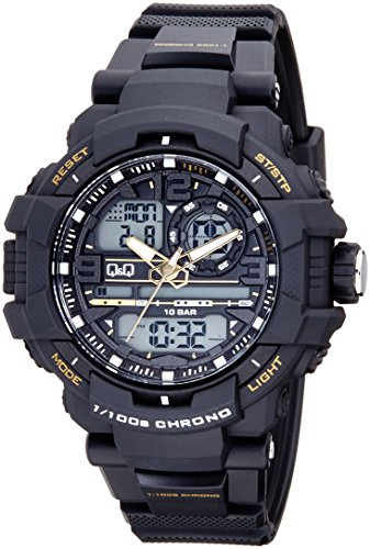 - Q&Q Mens Digital Wrist Watch with Black Band,100M Water Resistant
