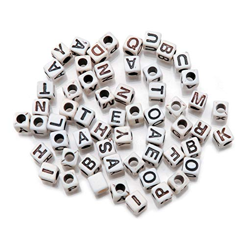 Darice Bulk Buy DIY Alphabet Beads Vertical Hole Cube White with Black Letters 6mm (3-Pack) 1943-51BW