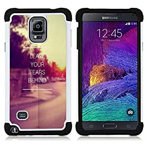 GIFT CHOICE / Defensor Cubierta de protección completa Flexible TPU Silicona + Duro PC Estuche protector Cáscara Funda Caso / Combo Case for Samsung Galaxy Note 4 SM-N910 // Fears Leave Behind Sunset Vignette //