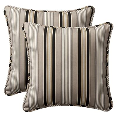 Pillow Perfect Decorative Black Striped Toss Pillows, Square, 2-Pack - Includes two (2) outdoor pillows, resists weather and fading in sunlight; Suitable for indoor and outdoor use Plush Fill - 100-percent polyester fiber filling Edges of outdoor pillows are trimmed with matching fabric and cord to sit perfectly on your outdoor patio furniture - living-room-soft-furnishings, living-room, decorative-pillows - 51cHoskd5uL. SS400  -