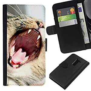 LG G2 D800 D802 D802TA D803 VS980 LS980 , la tarjeta de Crédito Slots PU Funda de cuero Monedero caso cubierta de piel ( Cat Roar Yawn Funny Cute Teeth Mouth Whiskers)