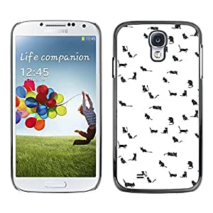 [Neutron-Star] Snap-on Series Teléfono Carcasa Funda Case Caso para Samsung Galaxy S4 [Gatos Perros Pequeños Animales Dibujo blanco lindo]