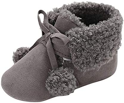 8ddd3377471cc Amazon.com : Winter Toddler Warm Shoes, Baby Girls Boys Lace up Soft Soft  Booties Hair Ball Bandage Snow Boots (6-12 Months, Gray) : Beauty