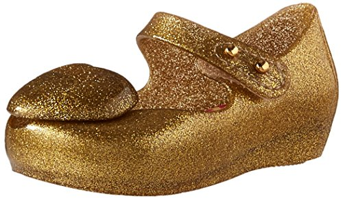 Gold Flat Heart (Mini Melissa Girls' Mini Ultragirl Heart Me Ballet Flat, Gold, 10 Medium US Toddler)