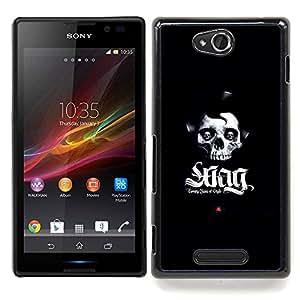 "Qstar Arte & diseño plástico duro Fundas Cover Cubre Hard Case Cover para Sony Xperia C (SWAG cráneo"")"