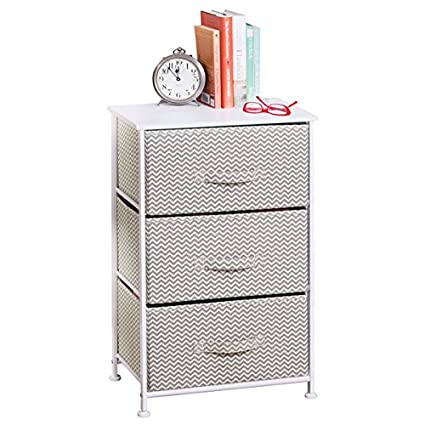 MDesign Vertical Dresser Storage Tower   Sturdy Steel Frame, Wood Top, Easy  Pull Fabric