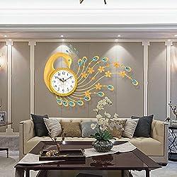 TIANTA- Luxury diamond wall clock Peacock personalized European silent bedroom living room metal frame glass dial quartz clock ( Color : B )