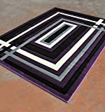 Homemusthaves Super Soft Lines 3-Dimentional Modern Contemporary Polyester Area Rug Carpet Living Room Bedroom Rug Carpet Floor Hand Carved Rug Carpet (5'3″x7'2″, Purple) For Sale