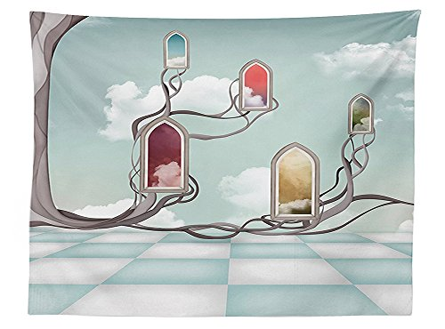 vipsung Magic Home Decor Tablecloth Colored Mirrors over Tree Branch on Clouds Dream Room of Sky Surreal Unusual Graphic Work Dining Room Kitchen Rectangular Table Cover