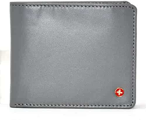 f6475558faae Alpine Swiss RFID Mens Wallet Deluxe Capacity Hybrid Flipout ID Bifold With  Divided Bill Section