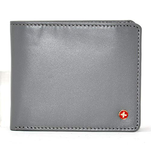 (Alpine Swiss Mens RFID Safe Leather Wallet Slim Flip-out Bifold Trifold Hybrid Smooth Finish Gray)