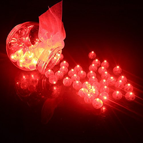 100pcs LED Mini Round Ball Balloon Light, Long Standby Time Ball Lights for Paper Lantern Balloon Halloween Party Wedding Decoration (Red) ()