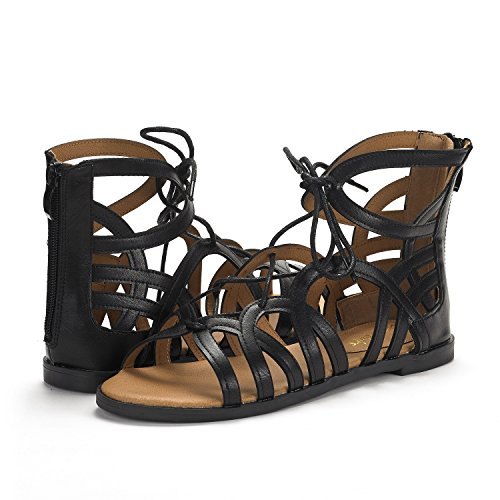 PAIRS Toe Sandals Cesar Womens Black DREAM Gladiator Open Flat nw1vnxqO