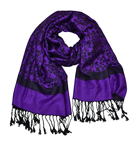 Floral Jacquard Scarf - Floral Jacquard Scarf Women's Fashion Shawl Long Soft Accent Wrap In Purple