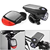 XCSOURCE Rechargeable Solar Bicycle LED Lights Front and Rear Safety Flashlight Accessories Set Headlight and Taillight Lamp CS458