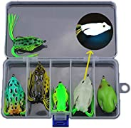 6pcs Hollow Body Frog Lure Weedless Topwater Kit, Artificial Soft Bait 5.5CM Soft Tube Bait, for Bass Pike Sna