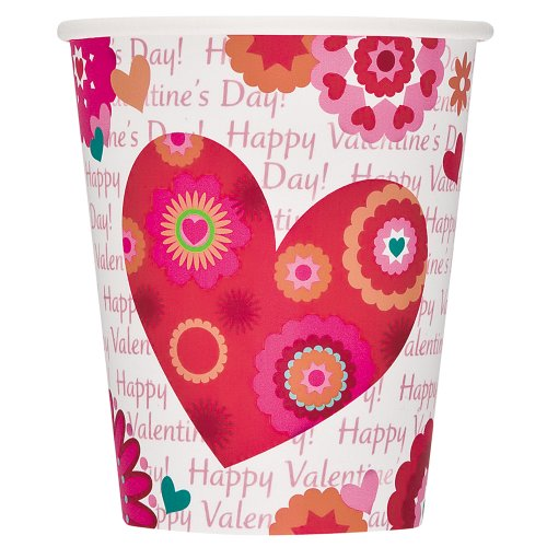 9oz Hearts In Bloom Valentine's Day Paper Cups, 8ct