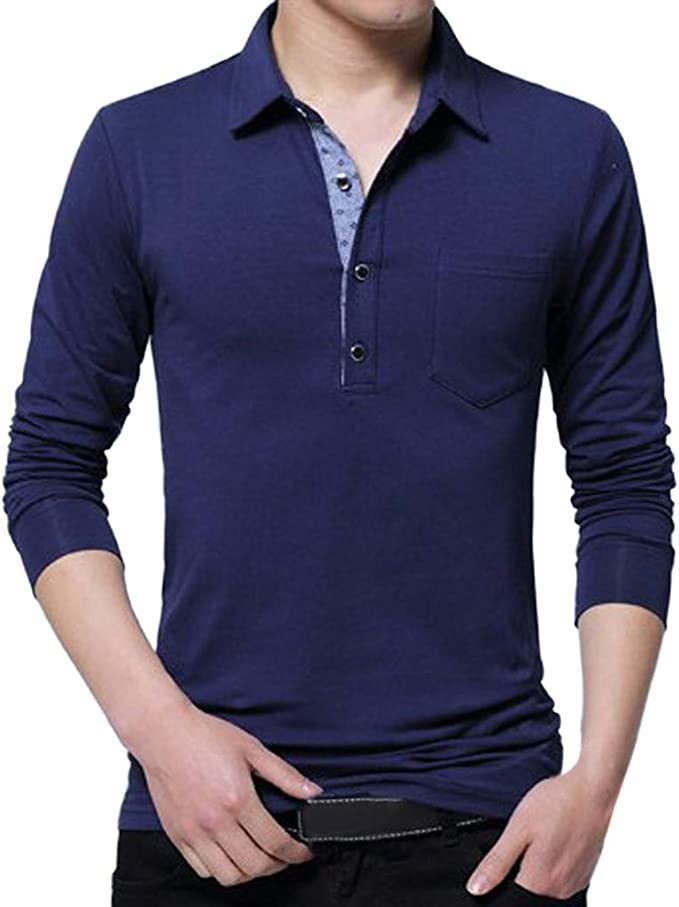 Scoraggiare America laringe  Longra T-Shirt in Cotone a Manica Lunga da Uomo Primaverile Polo da Uomo Manica  Lunga Maglietta Poloshirt Camicia Slim Fit Felpa T-Shirt Sportiva Taglie  Forti: Amazon.it: Abbigliamento