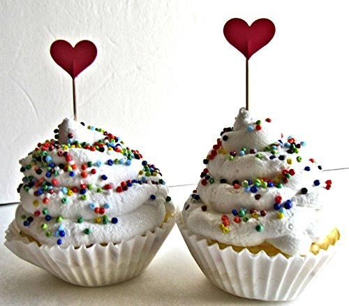 Red Heart 12 cupcake topper Valentine's Day Sweetheart Birthday gift favor lollipop Boys Girls confetti Party Christmas Holiday