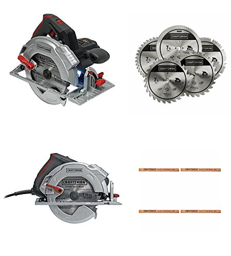 Craftsman | Best Circular Saw & Blade Replacement Bundle PLUS For Carpenters | Corded 15 Amp 7-1/4 Inch Circular Saw w Laser Light Tracking | 5 Pack Carbide Blades | 4 Flat Pencils | Construction Site (Electric Pencil Sharpener Corded compare prices)