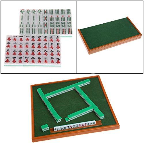 Cencity Portable Mini 144 Mahjong Set Mah Jong Table Traditional Game Travel Foldable for Kids, Raves, Birthday, Wedding, Christmas, Halloween, Children Party Decor -