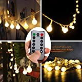 [Remote & Timer] 16 Feet 50 LED Outdoor Globe String Lights 8 Modes Battery Operated Frosted White Ball Fairy Light(dimmable, Ip65 Waterproof, Warm White)