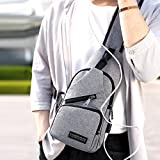Sling Bag with USB Charging Port Crossbody Canvas