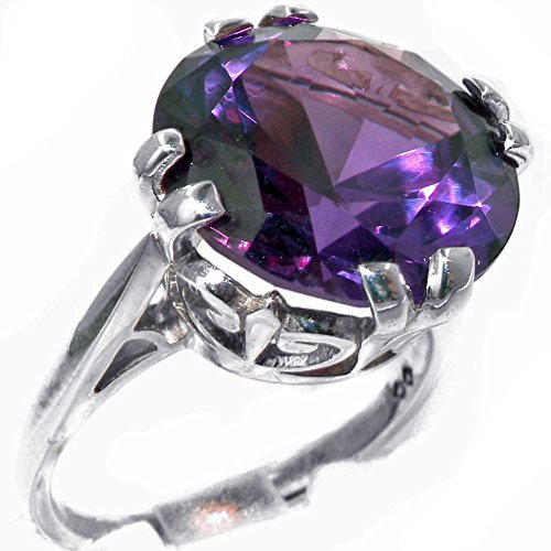 Solid Sterling Silver Womens Large 14mm Synthetic Alexandrite Vintage...
