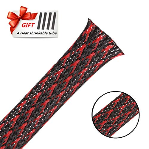 PET Braided Cable Sleeve 25ft - 3/4 inch Cable Management Sleeve Cables Organizer for Wrap and Protect Cables - BlackRed Wire Loom Tubing by Aibole