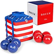 Idle Banter Games 90mm Bocce Ball Set with Nylon Carrying Case - Lawn Game for Adults and Kids - Backyard Game