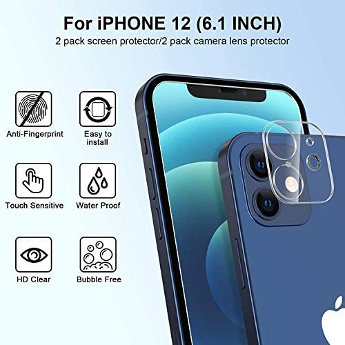"[4Pack] 2 Pack Screen Protector Tempered Glass Compatible with iPhone 12 5G (6.1"")+2 Pack Camera Lens Protector Tempered Glass for iPhone 12 6.1, HD Clear Anti-Scratch Bubble Free Case Friendly"