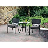 Mainstays 3-Piece Outdoor Bistro Set, Seats 2, Grey with Charcoal Grill